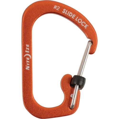 NITEIZEナイトアイズスライドロックアルミカラビナー#2(28×4.5mm/オレンジ)NI04037