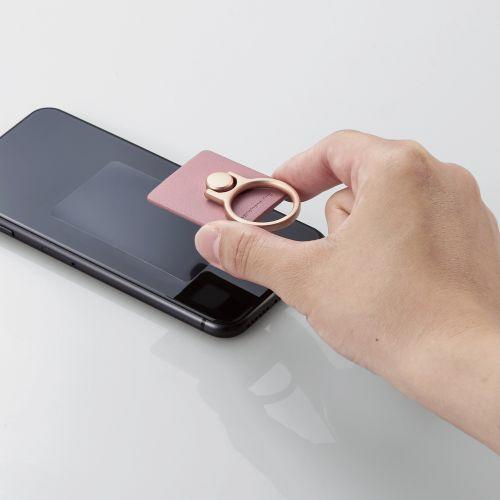エレコムスマートフォン用ストラップスマホリングレザースタンダードピンクP-STRLPN