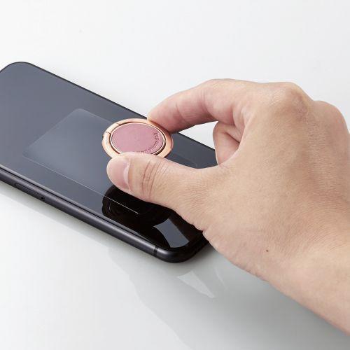 エレコムELECOMスマートフォン用ストラップスマホリングレザー薄型ピンクP-STRSLLPN