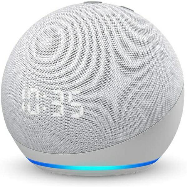 AmazonアマゾンEchoDot(エコードット)第4世代-時計付きスマートスピーカーwithAlexaグレーシャーホワイトB084J4TR39[Bluetooth対応/Wi-Fi対応]