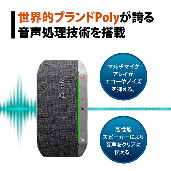 PolyポリーPPSYNC-RSY20UAスピーカーフォンBluetooth+USB-A・USB-C接続/音楽スピーカー/モバイルバッテリーSync20会議用[USB・充電式]