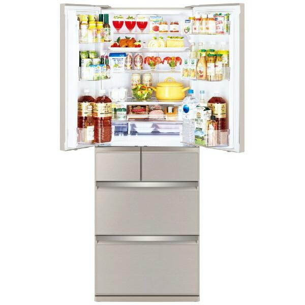 三菱MitsubishiElectric冷蔵庫置けるスマート大容量WXシリーズグレイングレージュMR-WX47G-C[6ドア/観音開きタイプ/470L]《基本設置料金セット》