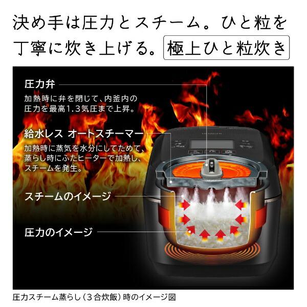 日立HITACHI炊飯器圧力&スチームふっくら御膳漆黒RZ-W100EM-K[5.5合/圧力IH]【rb_cooking_cpn】【2111_cpn】