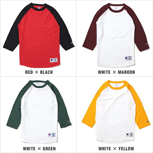 チャンピオン Tシャツ CHAMPION ラグラン 七分丈 ベースボール メンズ 大きいサイズ USAモデル 無地 T-SHIRTS レディース あす楽