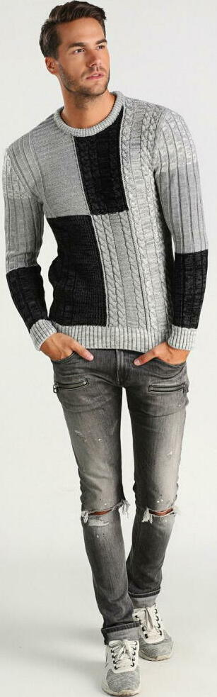 ジェジェ パッチワーク クルーネックセーター