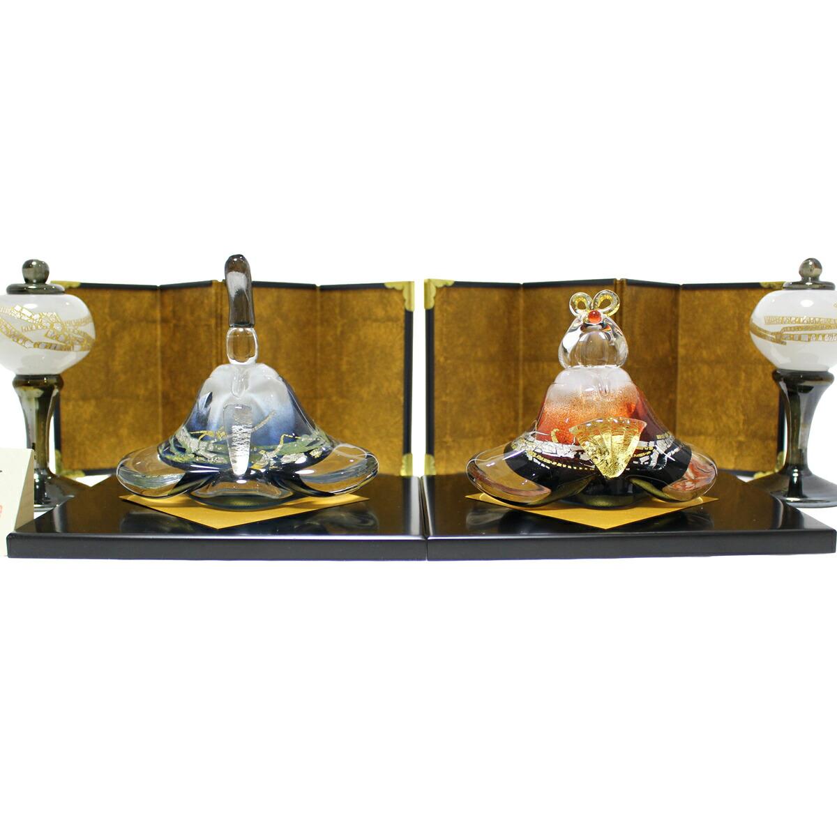 ガラスのお雛様 glass calico グラスキャリコ 富士雛 雪洞(ぼんぼり)付き ハンドメイド ガラスアート