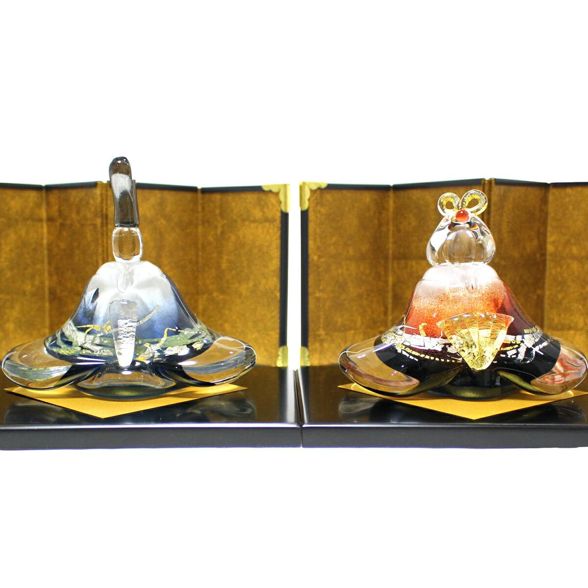 ガラスのお雛様 glass calico グラスキャリコ 富士雛 ハンドメイド ガラスアート