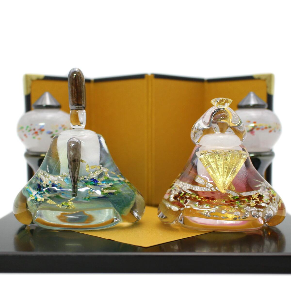 ガラスのお雛様 glass calico グラスキャリコ 華雛 雪洞(ぼんぼり)付き ハンドメイド ガラスアート