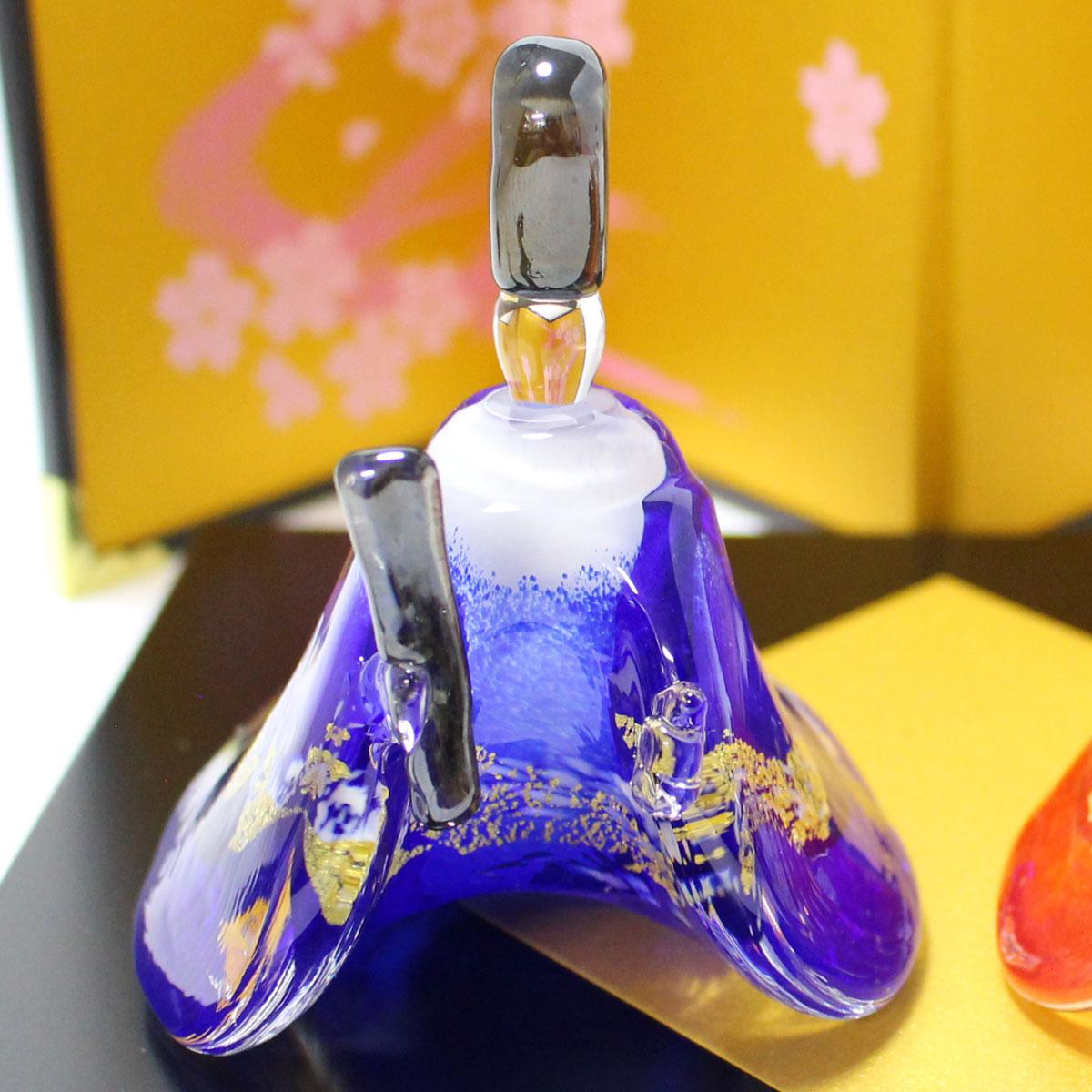 ガラスのお雛様 やよい雛(赤・青)ぼんぼり付き 商品イメージ2