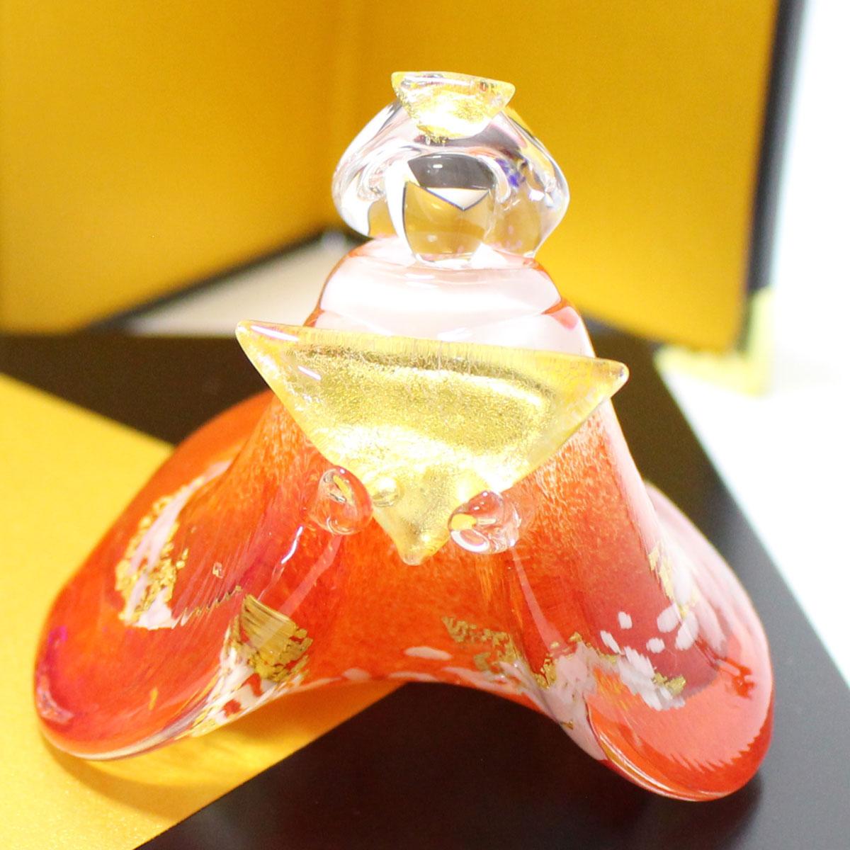 ガラスのお雛様 やよい雛(赤・青)ぼんぼり付き 商品イメージ3
