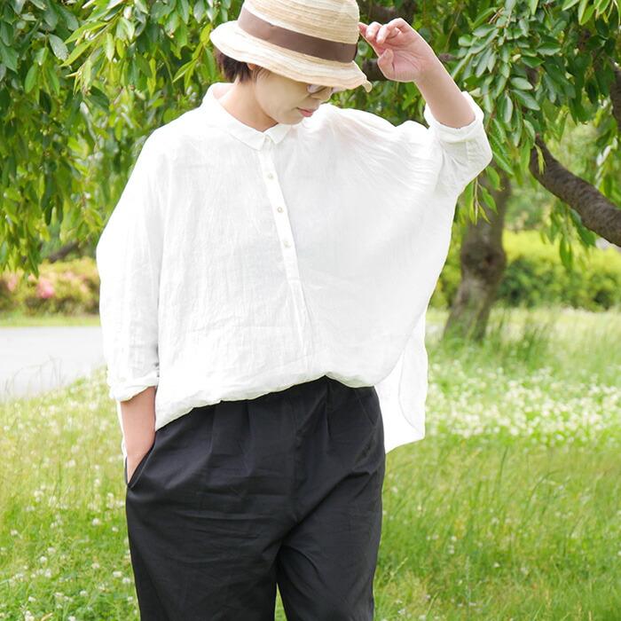 ちび襟ドルマンシャツ