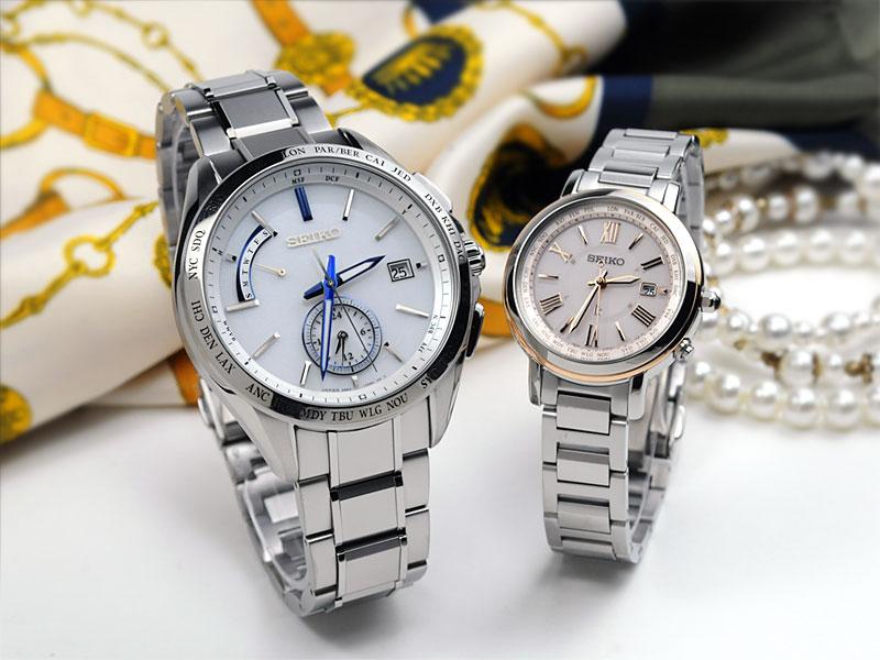 セイコーソーラー電波腕時計のブライツ&ルキアのペアウォッチの上質感がわかるイメージ画像です。日本製で還暦祝いや夫婦の記念日の贈り物に人気です