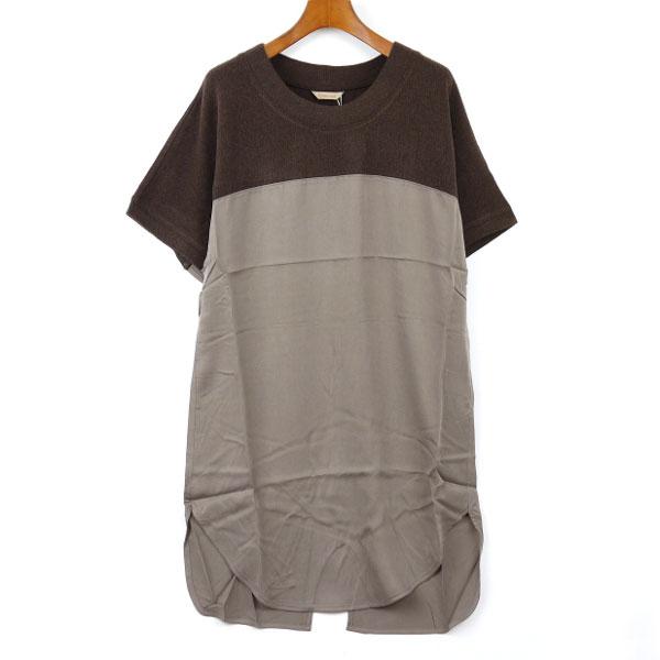 Dress apt.(ドレスアプト) ニット 布帛 切替 ドルマン ワンピース・13816�カラー画�