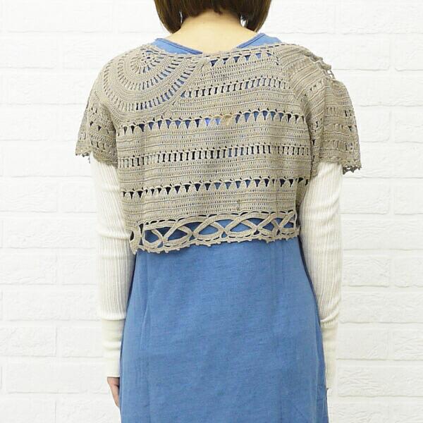 mao made(マオメイド) コットン ショート丈 かぎ針編み ニットプルオーバー・221105の詳細画像