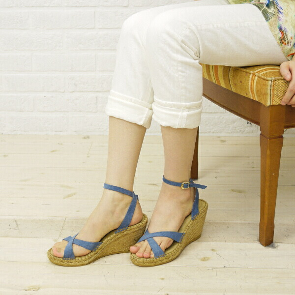 Color image of Calzanor( カルザノール) suede leather espadrille cross strap wedge sole sandals, S787
