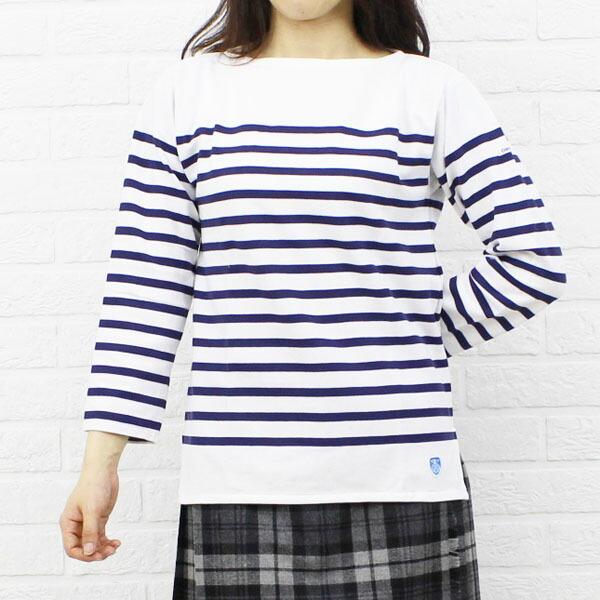 Color image of ORCIVAL( オーチバル オーシバル) cotton long sleeves boat neck rale horizontal stripe T-shirt (regular) .6803
