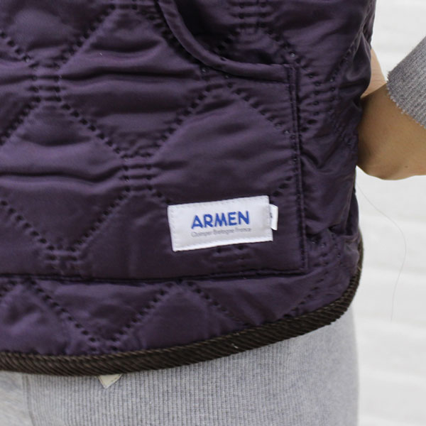 Detailed image of ARMEN( Amen) polyester quilting reversible stand collar best, NAM9984