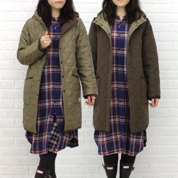 Color image of long coat, NAM0681 with the ARMEN( Amen) polyester quilting reversible food