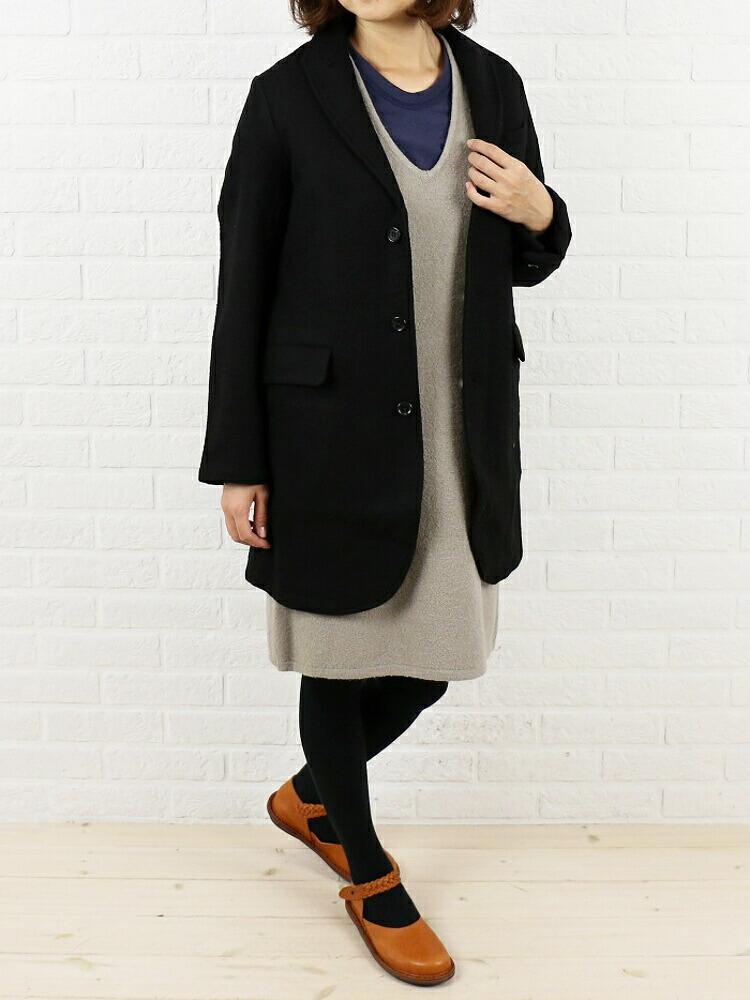 Vas-y Lentement(ヴァジー・ラントマン) ウール ナイロン メルトン テーラードカラー コート・NVL2401 のカラー画像