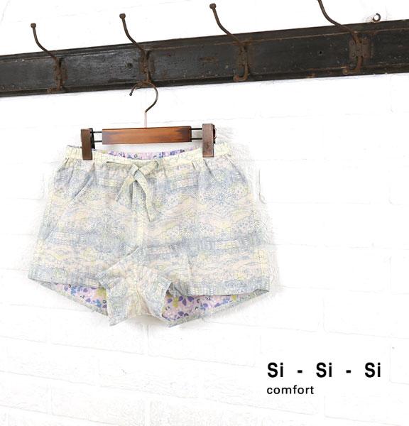 Si-Si-Si(スースースー) リネン コットン ショートパンツ ホームパンツ・HOMEPANTS  #Si-Si-Si