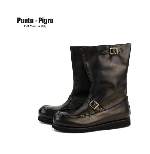 PUNTO PIGRO(プントピグロ) レザー ベルト付き エンジニアブーツ・NPP1553  #PUNTOPIGRO