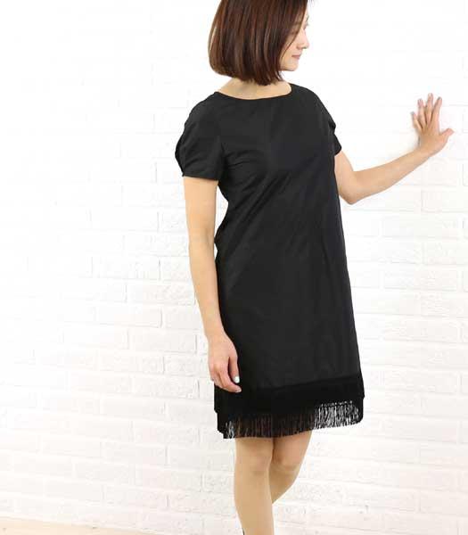 Dress apt.(ドレスアプト) タフタ 裾フリンジ 半袖 ワンピース・16423  #Dressapt.