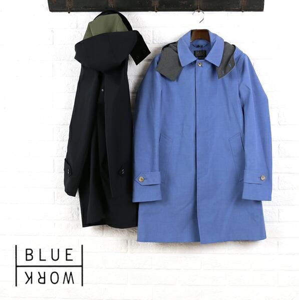 Blue Work(ブルーワーク) ポリエステル綿 ボンディング フード付き ステンカラーコート REGENT COAT BONDING・54-08-61-08101  #BlueWork