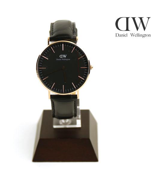 Daniel Wellington(ダニエル・ウェリントン) クラシックブラック レディン クロコ型押し レザーストラップ ローズゴールド 36mm ラウンド 腕時計 リストウォッチ・DW00100141 #DanielWellington