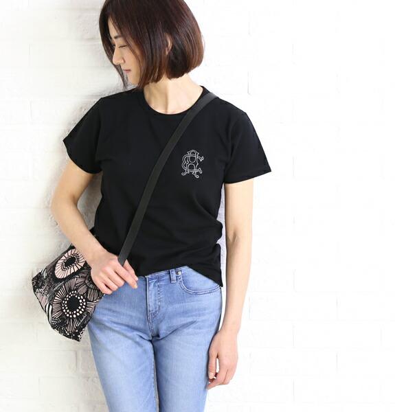 ARMEN(アーメン) コットン 鹿の子 エンブレムプリント ロゴ クルーネックTシャツ・NFA1701PA  #ARMEN