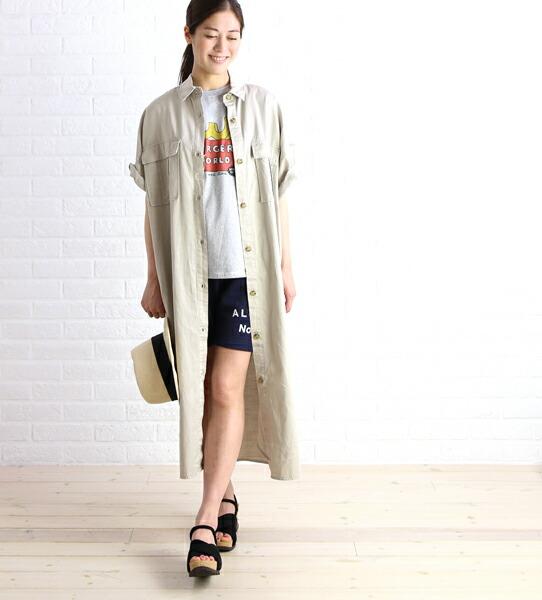 Midi-Umi(ミディウミ) コットン混 半袖 ミリタリー ビッグ ロング ワンピース シャツワンピース・1-752038  #Midi-Umi