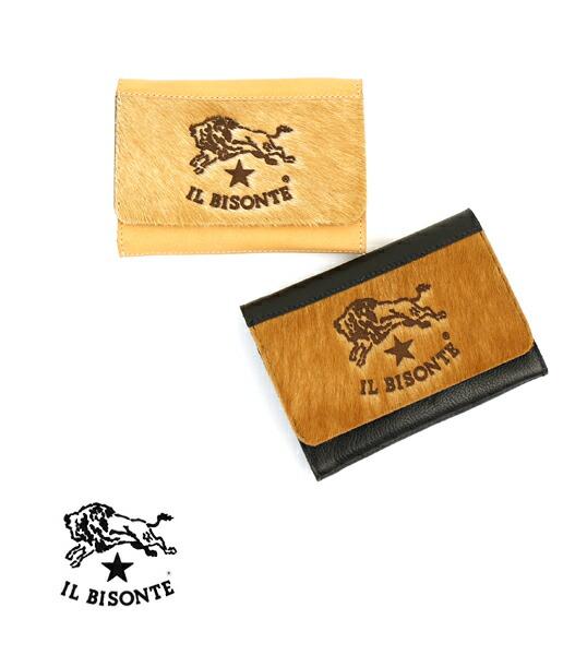 【イルビゾンテ IL BISONTE】日本限定 ハラコ×レザー フラップ付き 二つ折り 財布 ウォレット・54172311691-0061702【メンズ】【レディース】【--】