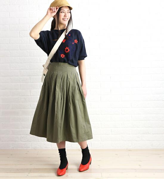 GRANDMA MAMA DAUGHTER by KATO'(グランマ・ママ・ドーター) コットン チノ タック ロングスカート プリーツスカート・GK001  #GRANDMAMAMADAUGHTERbyKATO'