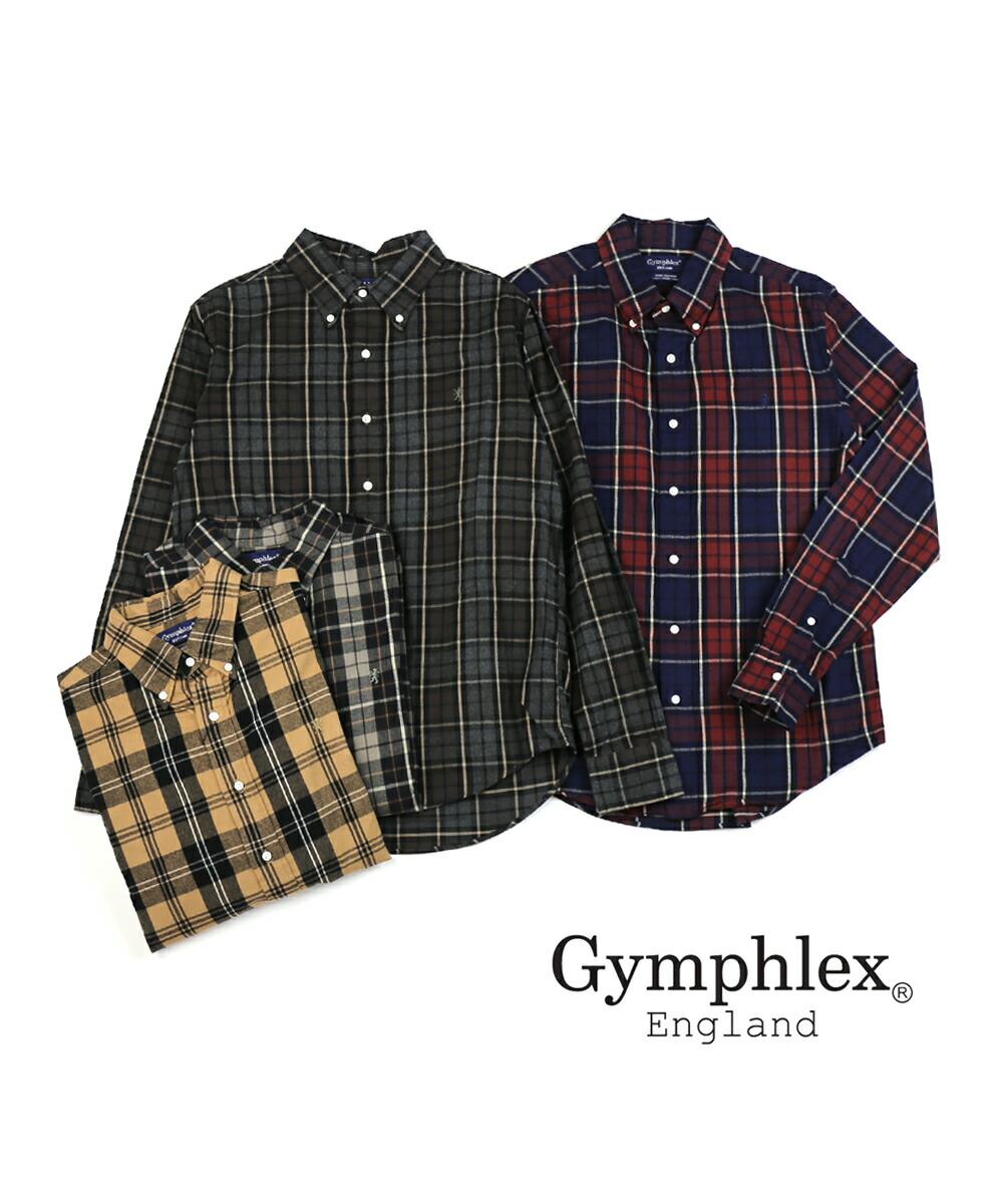 Gymphlex(ジムフレックス) コットン ビエラ起毛 フランネル メンズ 長袖 ボタンダウンシャツ ネルシャツ・J-0643VHC  #Gymphlex