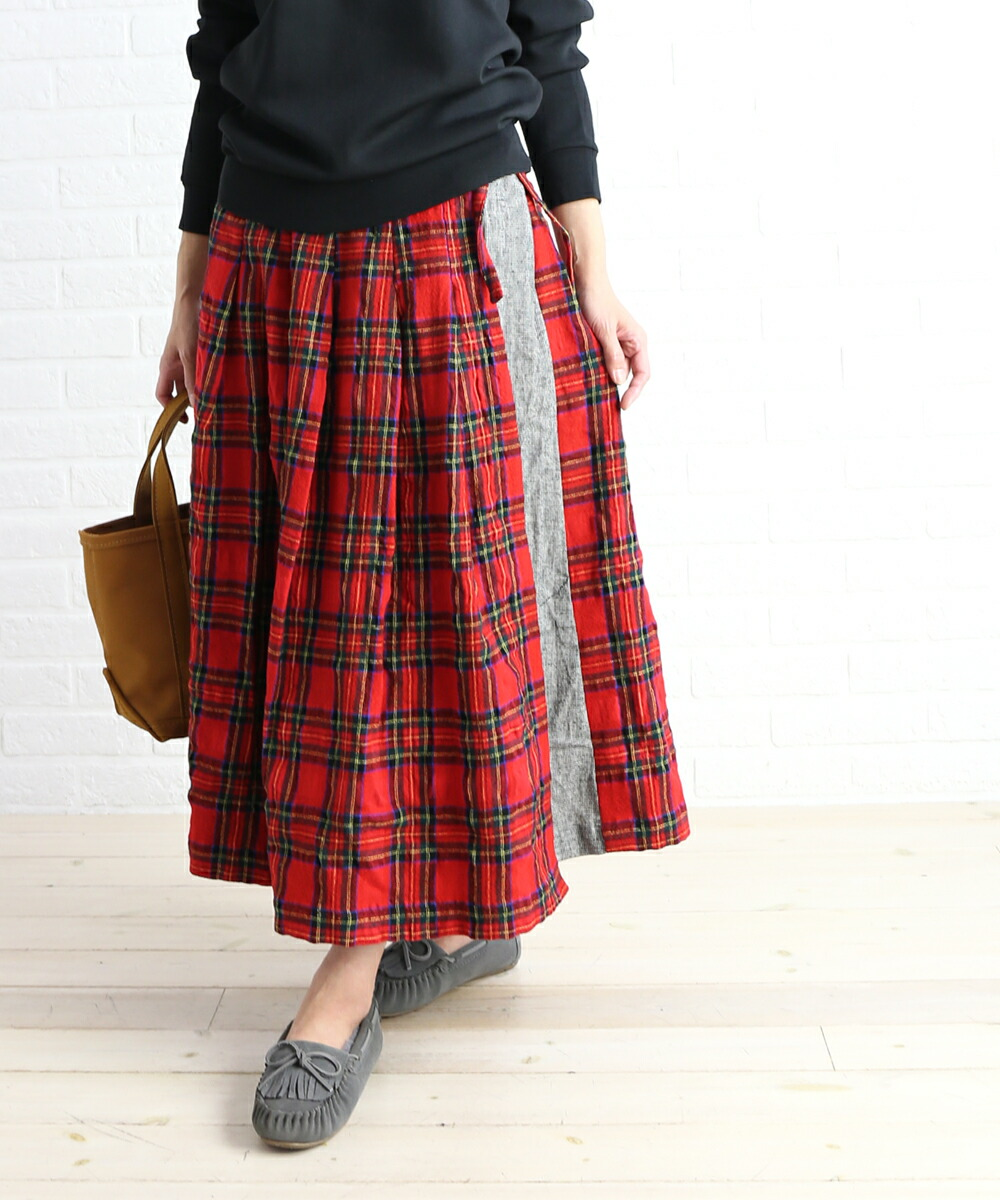 NATURAL LAUNDRY(ナチュラルランドリー) コットンウール チェックパネル 切替え ラップスカート ロングスカート・7184S-002  #NATURALLAUNDRY