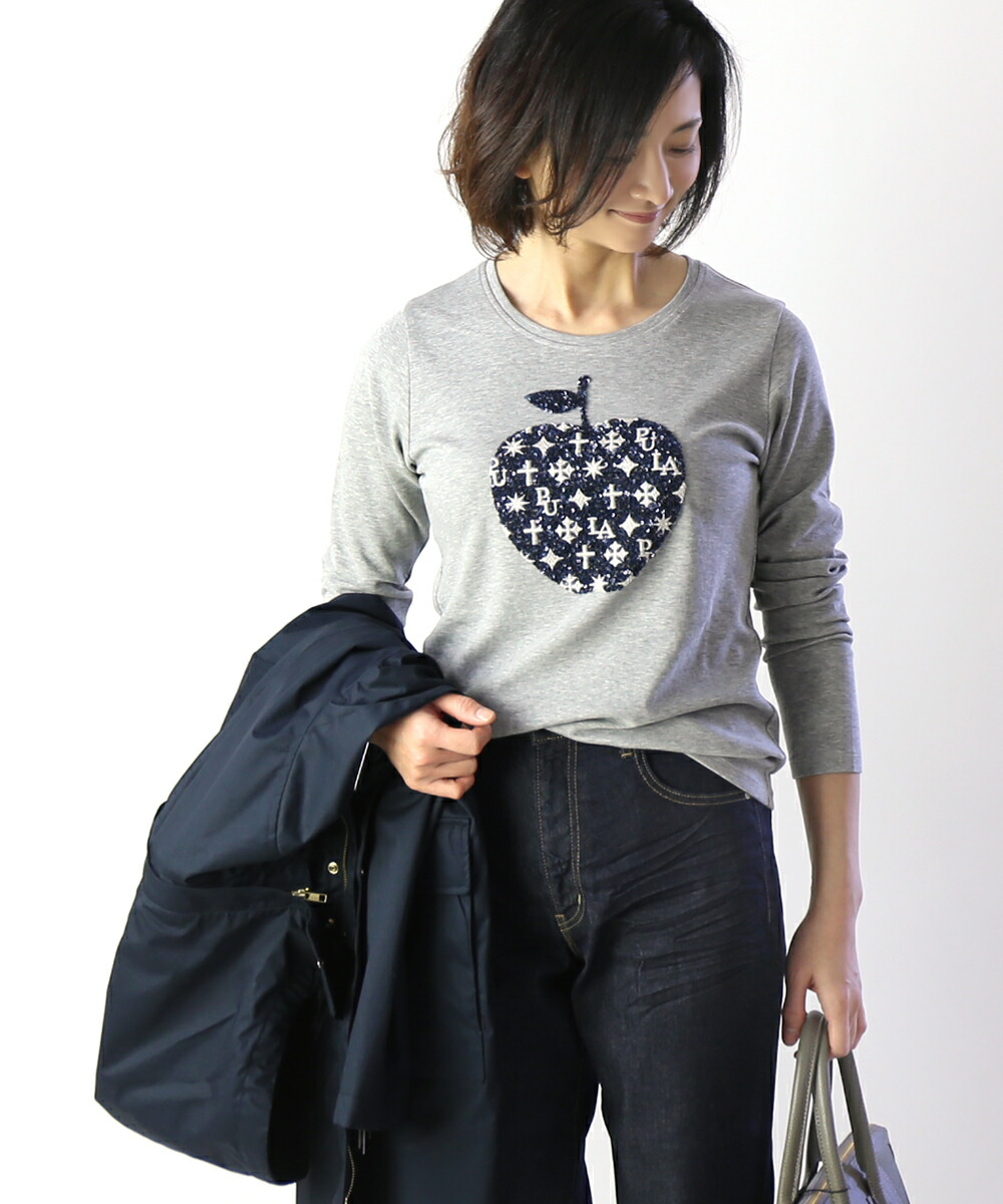 PUPULA(ププラ) フェザーニットスムース スパンコール アップル刺繍 ロングTシャツ・197006 #PUPULA