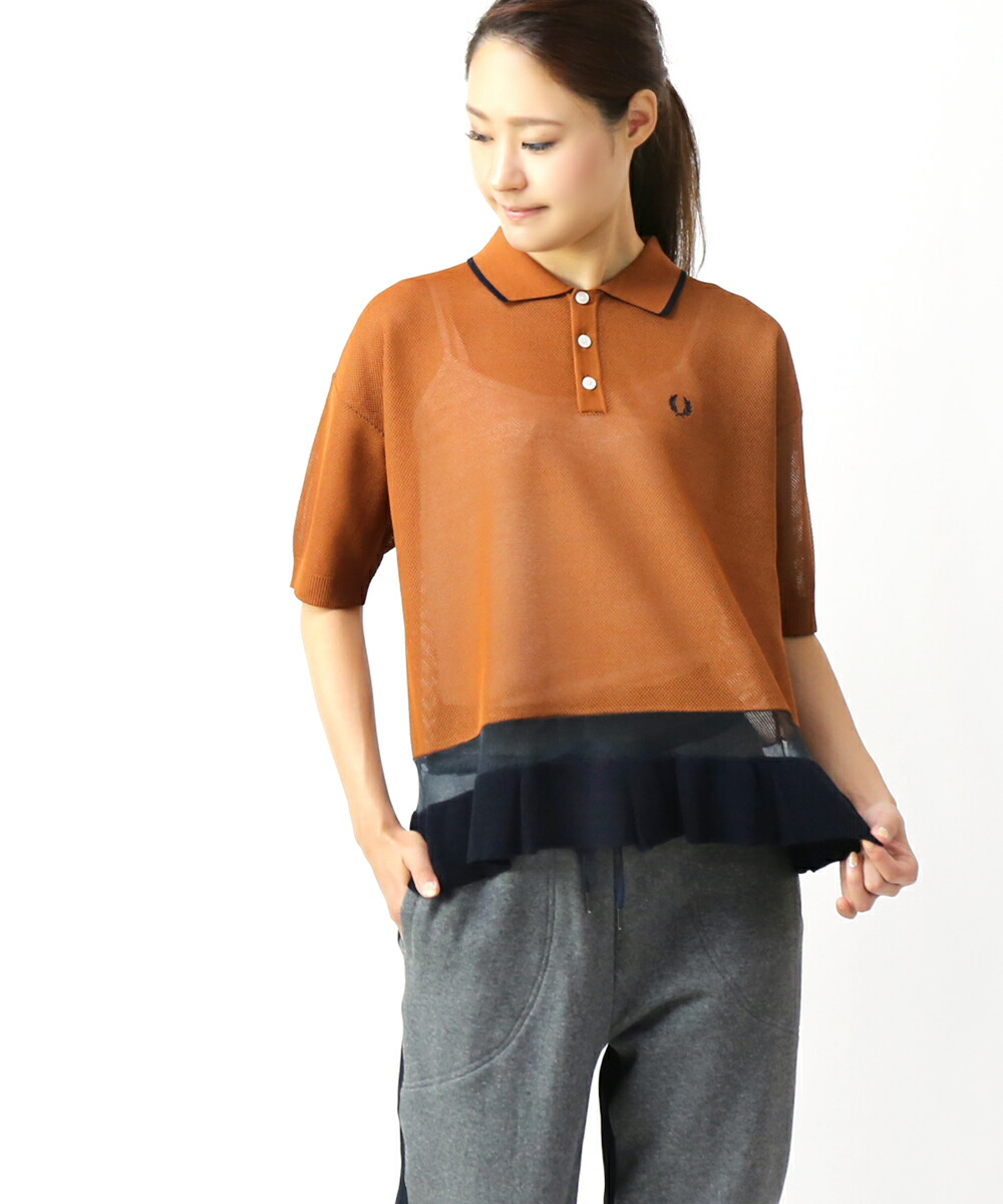 FRED PERRY(フレッドペリー) レーヨン混 裾配色ニット ドッキング メッシュ ポロシャツ KNITTED PIQUE SHIRT・F7171  #FREDPERRY
