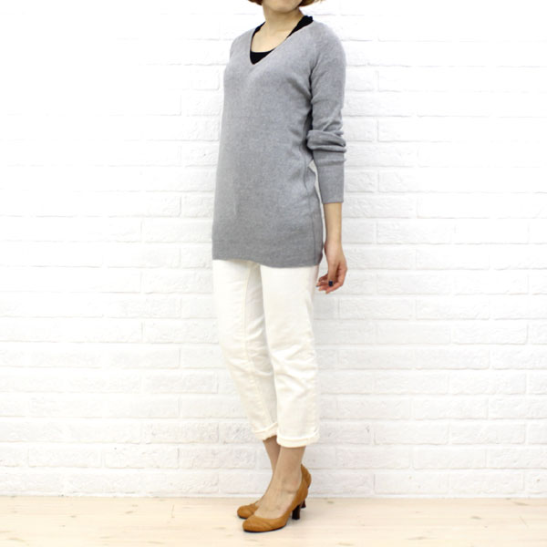 "Wearing image of three dots( three Dodds) cotton seven minutes sleeve U neck T-shirt ""Jessica Tee"", AA4S-041"