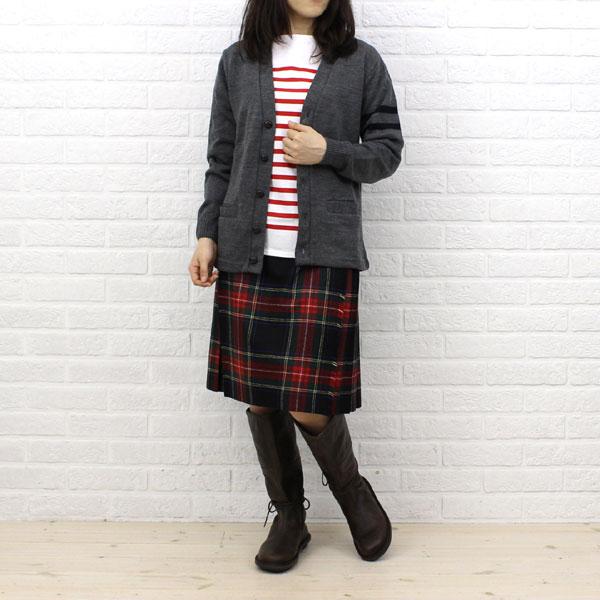 Wearing image of ORCIVAL( オーチバル オーシバル) cotton long sleeves boat neck rale horizontal stripe T-shirt (regular) .6803