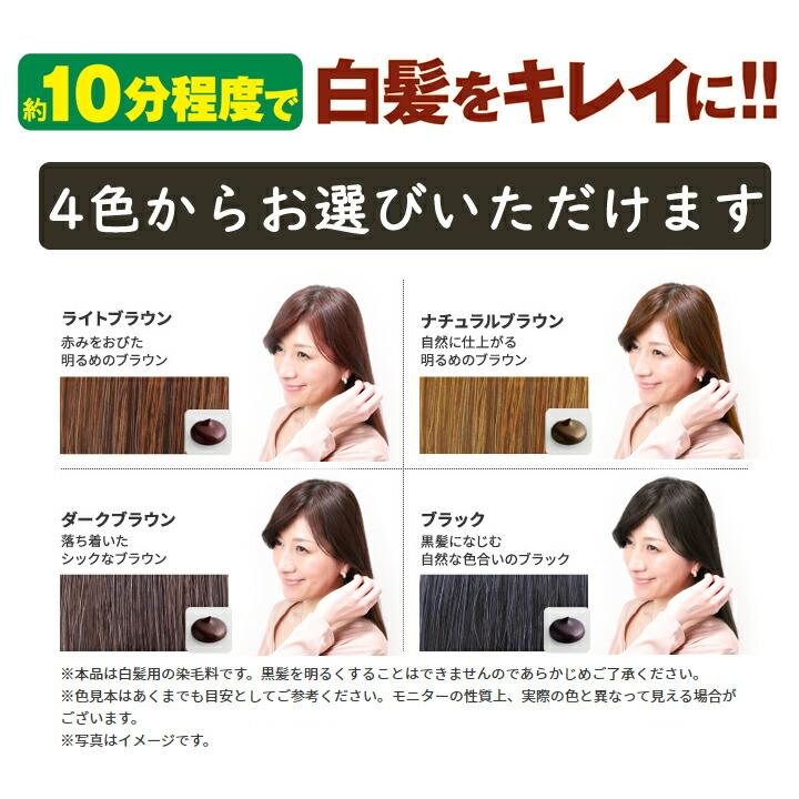 利尻ヘアカラートリートメント白髪染めは、4色から選べます。