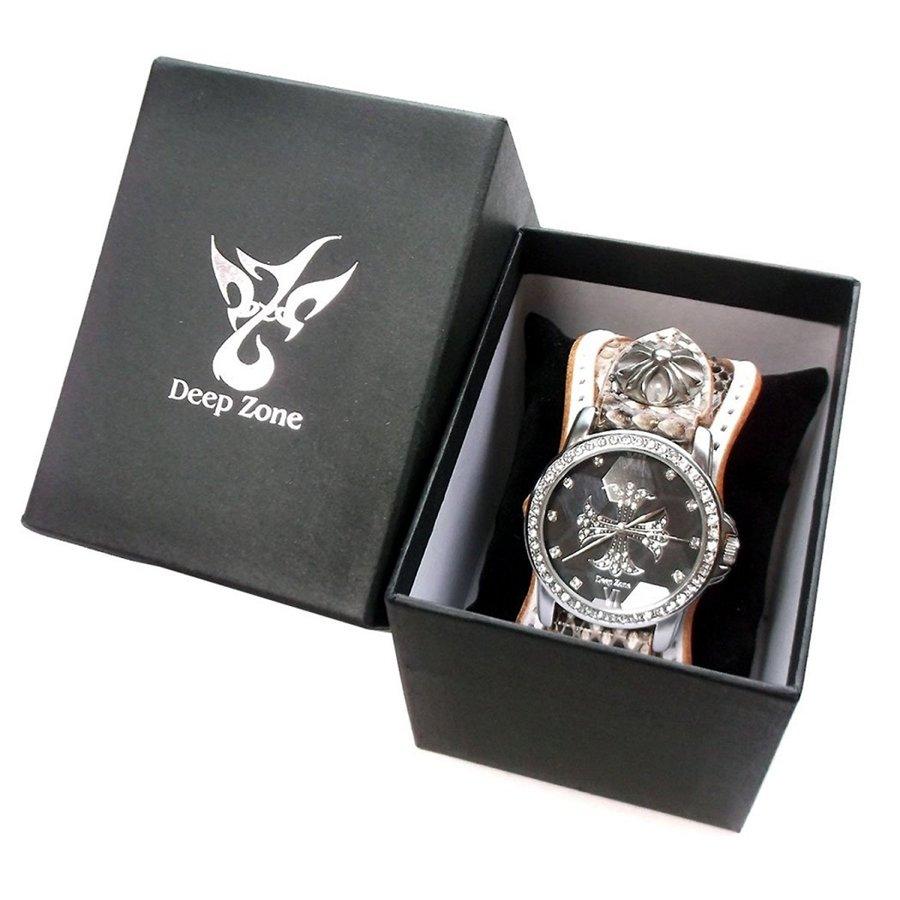 腕時計 メンズ ディープゾーン カジュアル 本革 レザー ベルト ジルコニア クロス [CWLBW-040]プレゼント 10パターン [Deep Zone] 悪羅悪羅 オラオラ 保証付き プレゼント 彼氏 国産ムーブメント