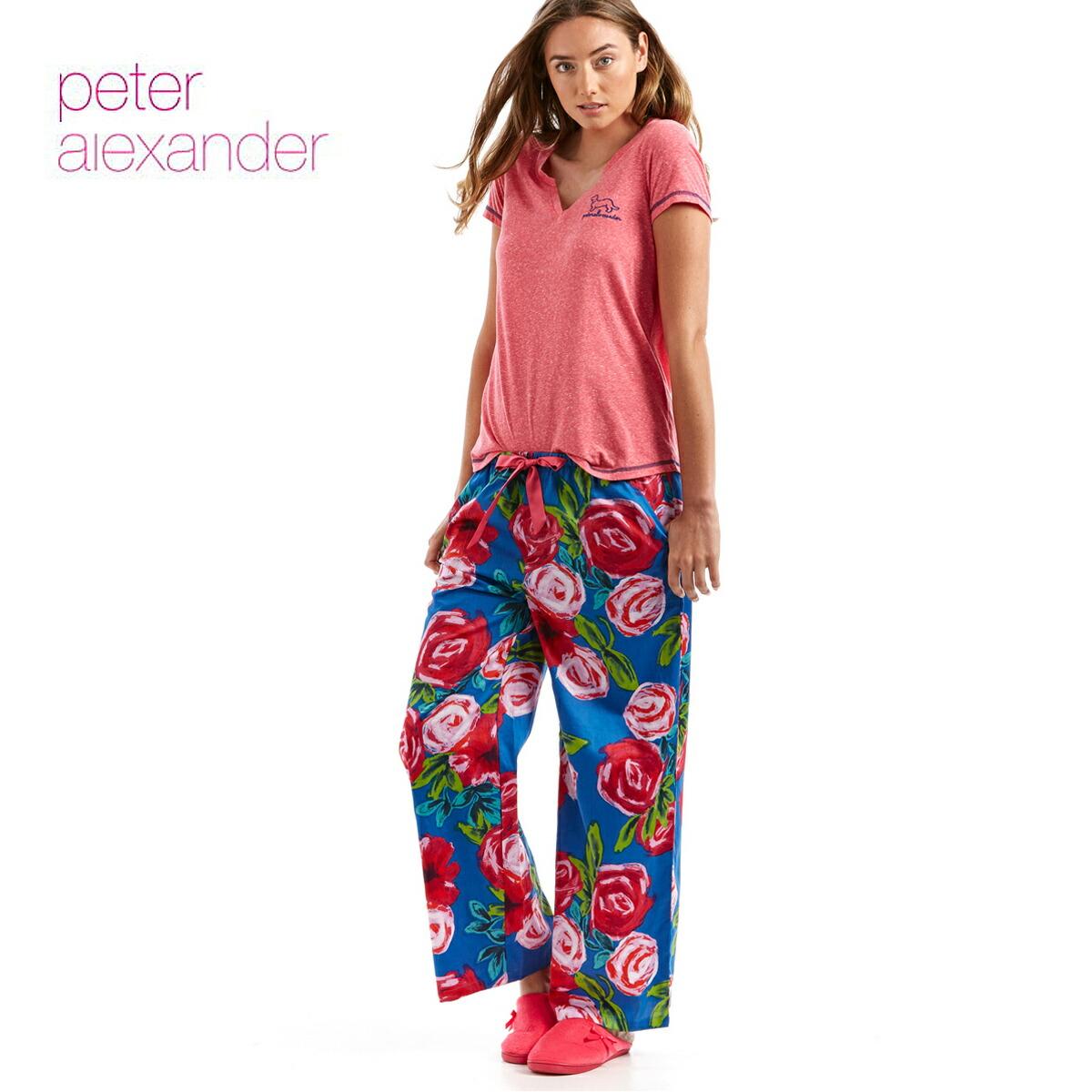 peter alexander ピーターアレキサンダー プリンテッドローズワイドレッグ パジャマパンツ