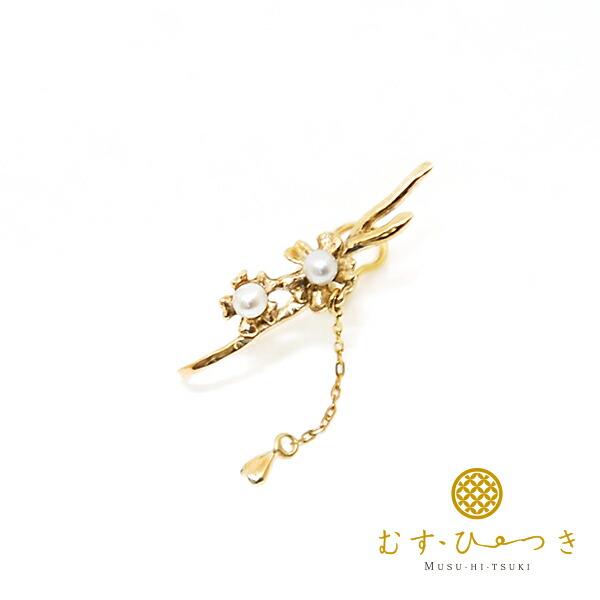 枝桜 淡水イヤリング K10