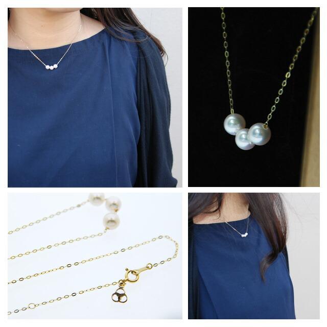 一粒の真珠から優しい輝きを。18金チェーンと一粒真珠を合わせた、シンプルなネックレス アコヤ真珠ネックレス k18 18金ネックレス パールネックレス