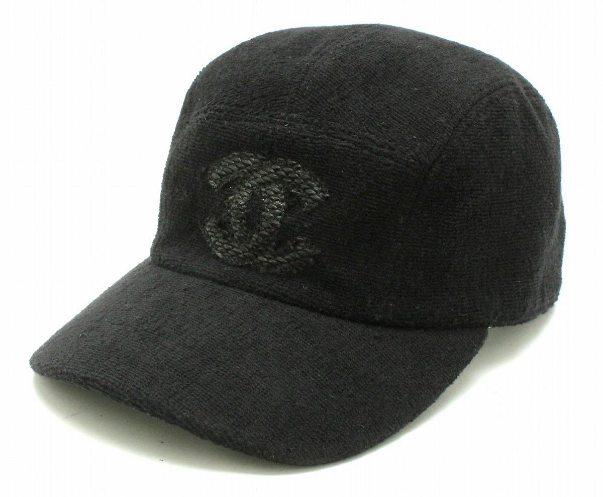 56481bbec684 CHANEL シャネル スポーツライン キャップ 帽子 ココマーク コットン100% 黒 ブラック サイズM 【中古】