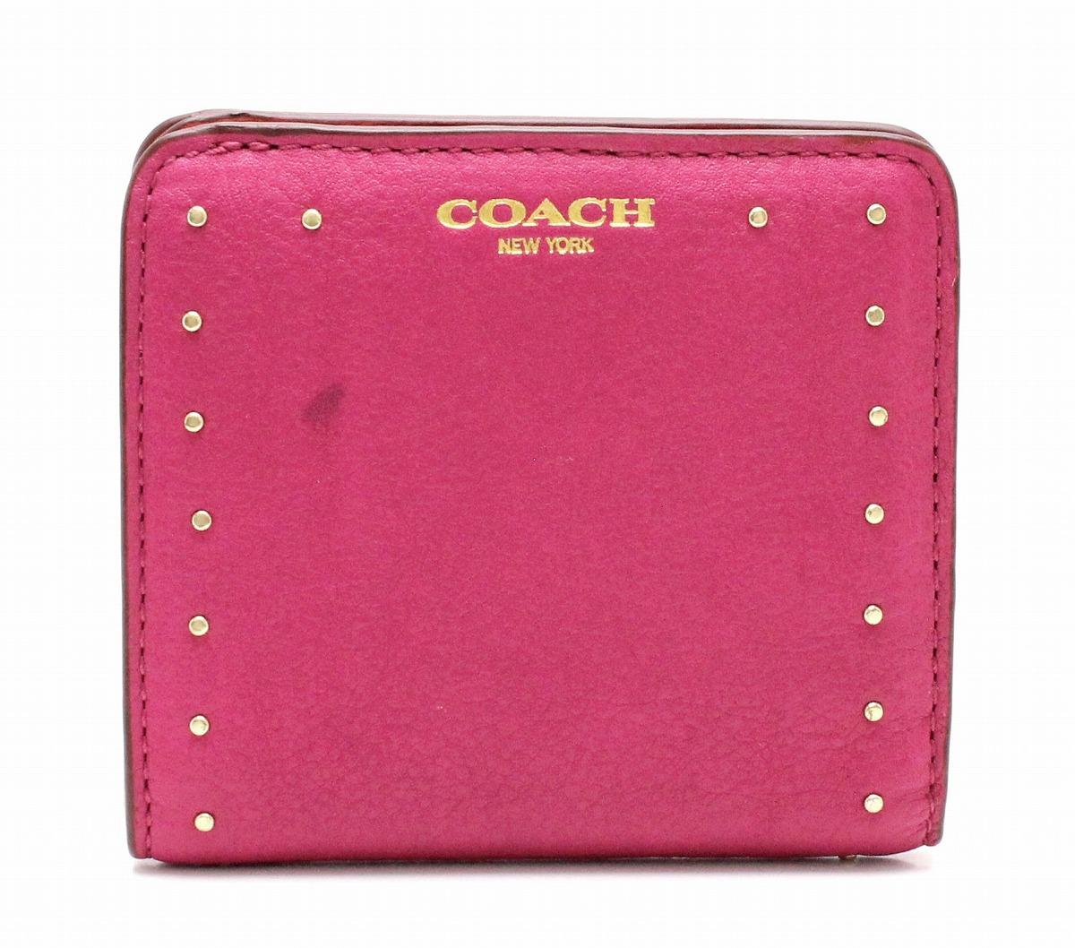 029c15038ed8 COACH コーチ 2つ折り財布 スタッズ レザー ゴールド ピンク 赤 レッド 【中古】