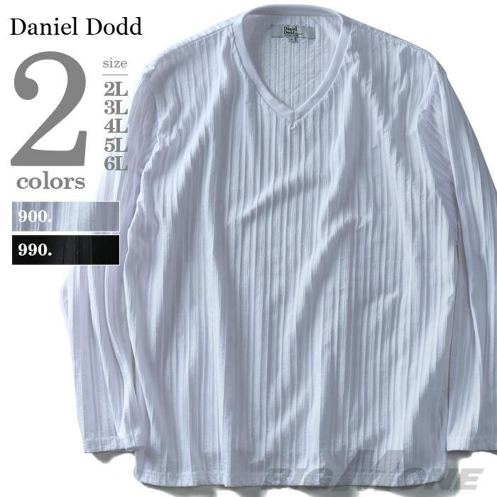 DANIEL DODD タックストライプVネック長袖Tシャツ azt-180109