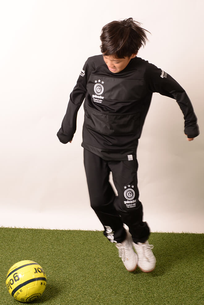 ゴレアドール/goleador ジュニア裏起毛ロングプラシャツ上下セット ジュニア裏起毛スムースハイネックピステボーダープラシャツ上下セット