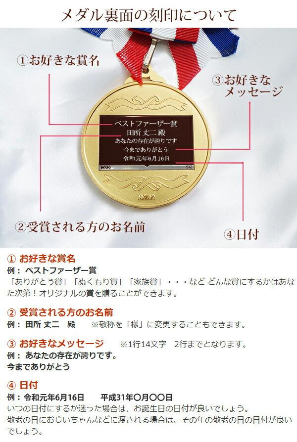 古希祝い名入れ金メダル