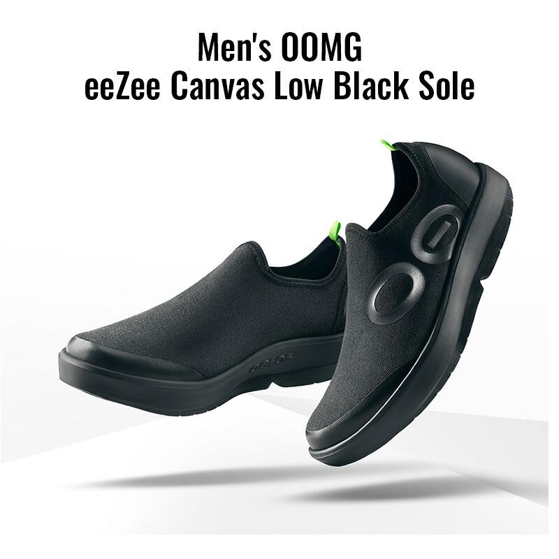 ウーフォス/OOFOS Men's OOMG eeZee Canvas Low Black Sole