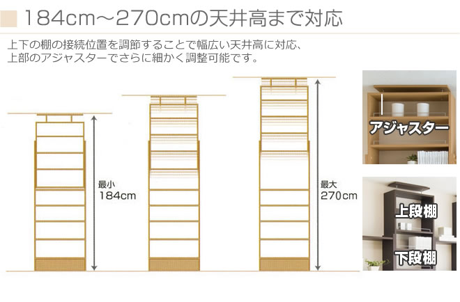 184cm〜270cmの天井高まで対応